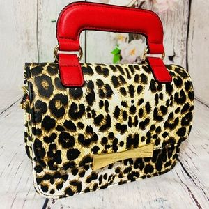 Betsey Johnson Leopard Red Top Handle Bag